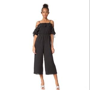 Club Monaco Kymbrah Jumpsuit Pin Dot Cold Shoulder